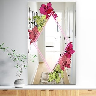 Designart 'Efflorescent Gold Simple 14' Traditional Mirror - Wall Mirror - Red
