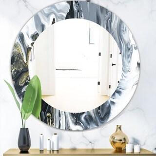 Designart 'Marbled Geode 13' Mid-Century Mirror - Frameless Oval or Round Wall Mirror - Grey/Silver