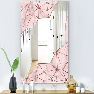 Designart 'Capital Gold Sleek 12' Glam Mirror - Ultra Modern Mirror - Pink