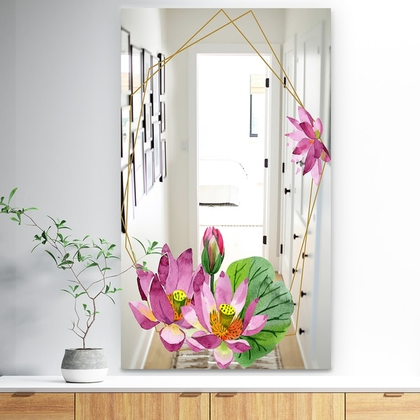 Designart 'Efflorescent Gold Simple 12' Traditional Mirror - Vanity Mirror
