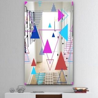 Designart 'Triangular Spacy Spheres 6' Mid-Century Mirror - Decorative Mirror - Pink