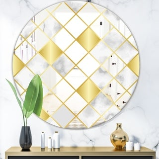 Designart 'Capital Gold Diamond 2' Mid-Century Mirror - Oval or Round Wall Mirror
