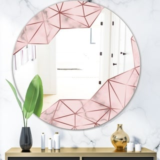 Designart 'Capital Gold Sleek 12' Glam Mirror - Oval or Round Wall Mirror - Pink