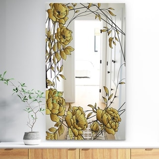 Designart 'Gold Botanical Blooming 6' Traditional Mirror - Bathroom Mirror - Gold