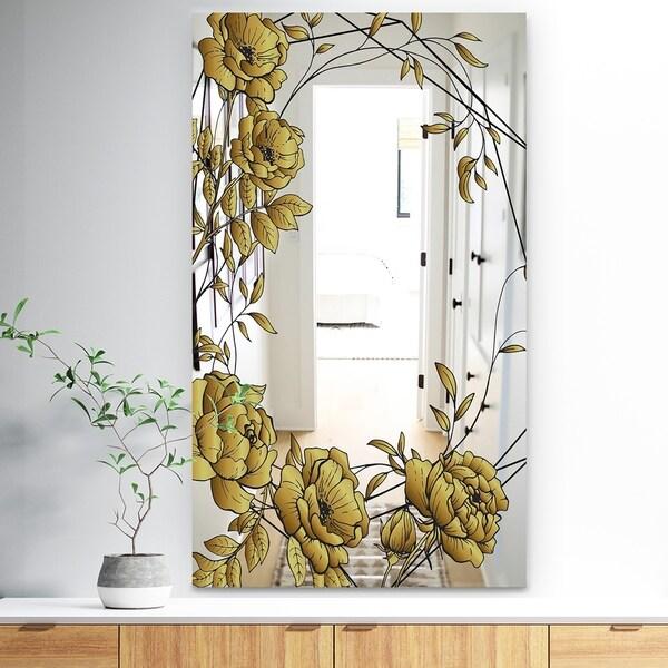 Designart 'Gold Botanical Blooming 6' Traditional Mirror - Bathroom Mirror - Gold
