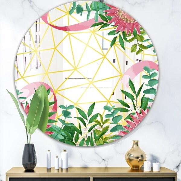 Designart 'Efflorescent Gold Pink 1' Glam Mirror - Oval or Round Wall Mirror - Green
