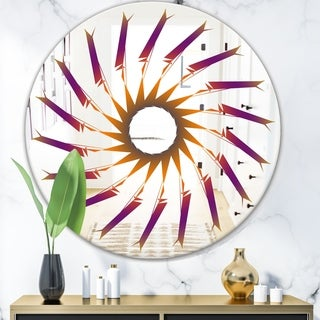 Designart 'Purple and Orange Lines' Mid-Century Mirror - Oval or Round Wall Mirror - Purple
