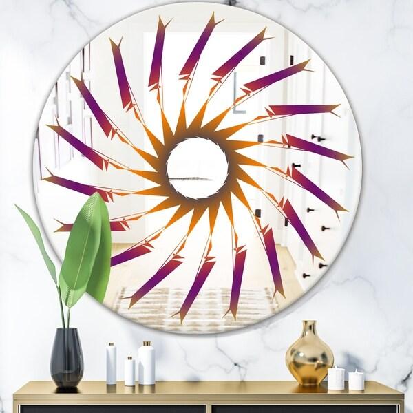 Designart 'Purple and Orange Lines' Mid-Century Mirror - Oval or Round Wall Mirror - Purple