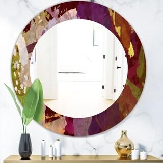 Designart 'Psychedelic Matte' Modern Mirror - Frameless Oval or Round Wall Mirror - Purple
