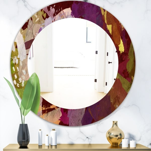 Designart 'Psychedelic Matte' Modern Mirror - Frameless Oval or Round Wall Mirror - Purple