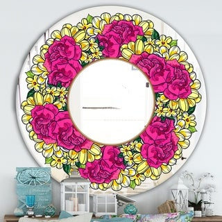 Designart 'Purple and Yellow Flowers' Cabin and Lodge Mirror - Oval or Round Wall Mirror - Pink