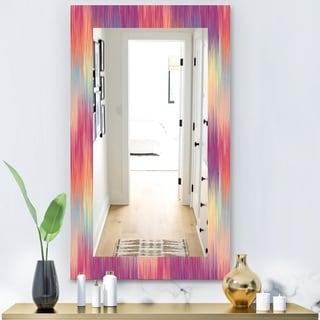 Designart 'Pink Spheres 6' Modern Mirror - Frameless Wall Mirror - Pink