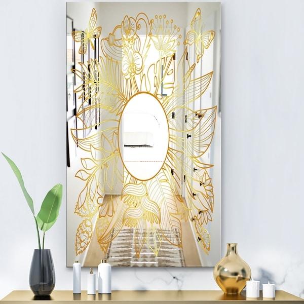 Designart 'Capital Gold Botanical Bliss 1' Glam Mirror - Decorative Modern Mirror