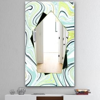 Designart 'Marbled Blue 2' Mid-Century Mirror - Wall Mirror - Green