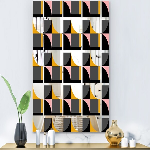 Designart 'Circular Dance 12' Modern Mirror - Contemporary Decorative Mirror - Black
