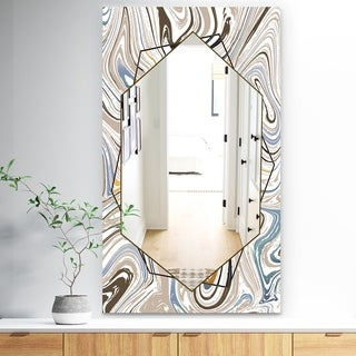 Designart 'Marbled Diamond 18' Bohemian and Eclectic Mirror - Wall Mirror - Grey