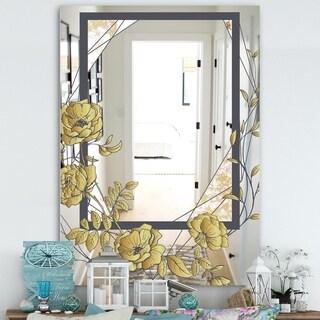 Designart 'Gold Botanical Blooming 1' Cabin and Lodge Mirror - Decorative Mirror - Gold