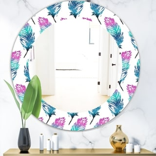 Designart 'Feathers 16' Modern Mirror - Frameless Oval or Round Wall Mirror - Purple