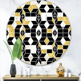 Designart 'Triangular Diamond Universe 1' Mid-Century Mirror - Oval or Round Wall Mirror - Black
