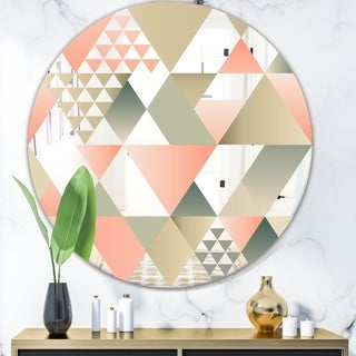 Designart 'Tropical Mood Pink 1' Mid-Century Mirror - Oval or Round Wall Mirror