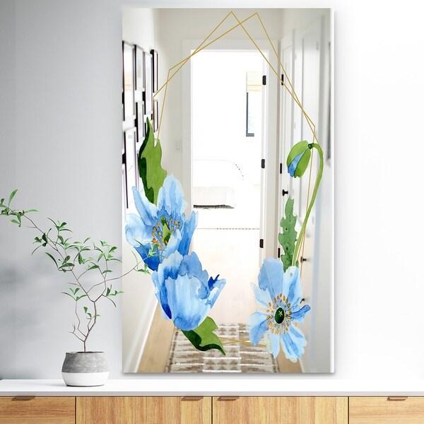Designart 'Efflorescent Gold Simple 8' Traditional Mirror - Wall Mirror - Blue