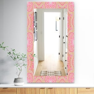 Designart 'Pink Spheres 4' Bohemian and Eclectic Mirror - Frameless Modern Wall Mirror - Pink