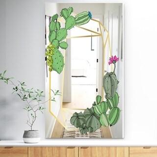 Designart 'Cactus 3' Traditional Mirror - Vanity Mirror - Green
