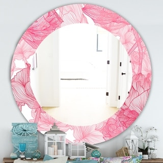 Designart 'Pink Spheres 9' Traditional Mirror - Frameless Oval or Round Wall Mirror - Red