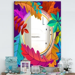 Designart 'Autumn With Round and Leaves' Farmhouse Mirror - Large Wall Mirror - Multi