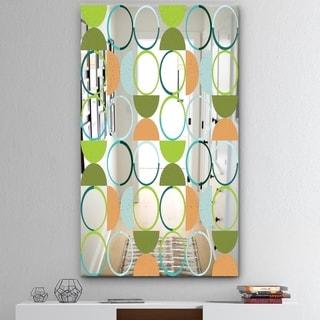 Designart 'Circular Rhythm 1' Mid-Century Mirror - Modern Print on Mirror - Green
