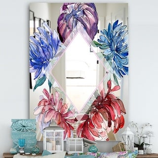 Designart 'Garland Sweet 16' Farmhouse Mirror - Wall Mirror - Red