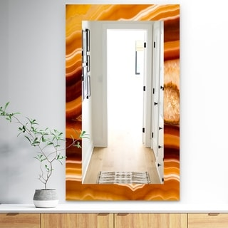 Designart 'Marbled Geode 1' Traditional Mirror - Frameless Wall Mirror - Brown