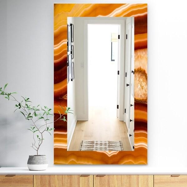 Designart 'Marbled Geode 1' Traditional Mirror - Frameless Wall Mirror - Brown