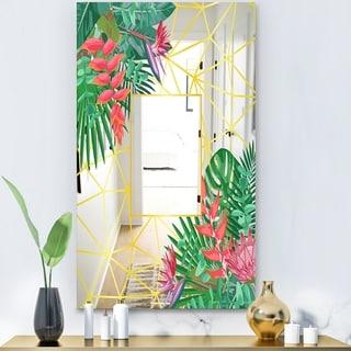 Designart 'Efflorescent Gold Pink 13' Glam Mirror - Accent or Vanity Mirror - Green