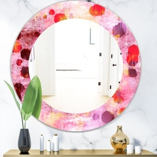 Designart 'Pink Spheres 8' Modern Mirror - Frameless Oval or Round Wall Mirror - Purple
