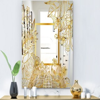 Designart 'Capital Gold Botanical Bliss 5' Glam Mirror - Modern Accent Mirror