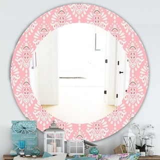 Designart 'Pink Spheres 2' Farmhouse Mirror - Frameless Oval or Round Wall Mirror - Pink