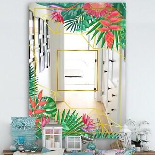 Designart 'Efflorescent Gold Pink 12' Cabin and Lodge Mirror - Vanity Mirror