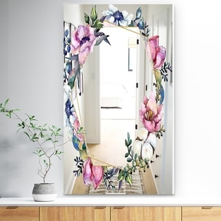 Designart 'Efflorescent Gold Simple 16' Traditional Mirror - Vanity Mirror - Multi