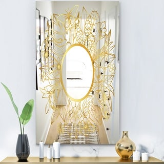Designart 'Capital Gold Botanical Bliss 2' Glam Mirror - Modern Large Wall Mirror