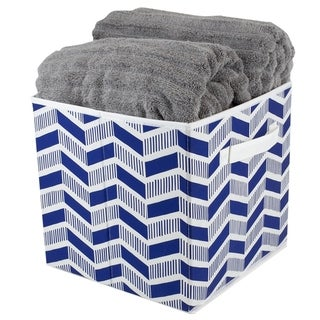 Chevron Collapsible Non-Woven Storage Cube, Navy