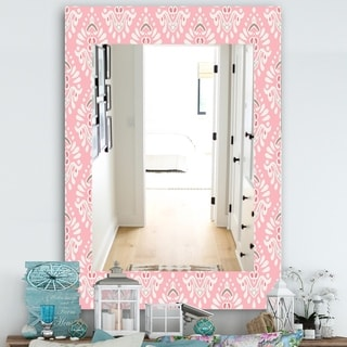 Designart 'Pink Spheres 2' Farmhouse Mirror - Frameless Decorative Mirror - Pink