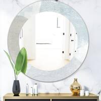 Designart 'Grey and White Collage I' Modern Mirror - Frameless Oval or Round Wall Mirror - Grey