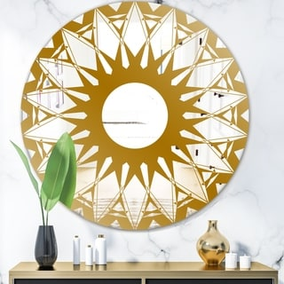 Designart 'Gold Sunburst' Glam Mirror - Oval or Round Wall Mirror - Gold