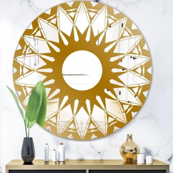Designart 'Gold Sunburst' Glam Mirror - Oval or Round Wall Mirror - Gold