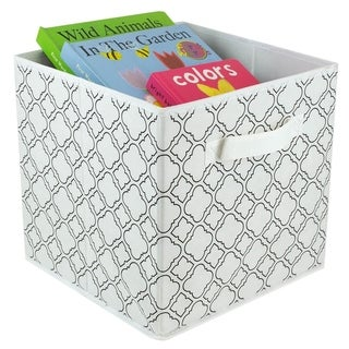 Quatrefoil Collapsible Non-Woven Storage Cube, White