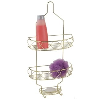 Prism 2 Tier Shower Caddy with Built-in Hooks, Gold