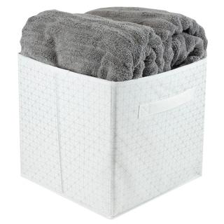 Metallic Diamond Collapsible Non-Woven Storage Cube, White