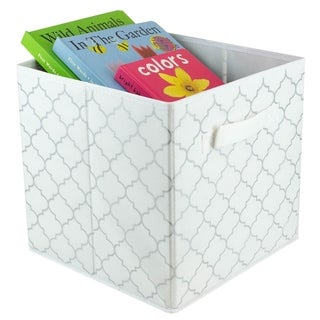 Metallic Lattice Collapsible Non-Woven Storage Cube, White