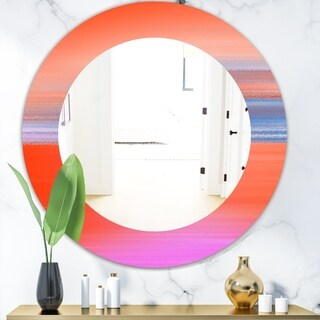 Designart 'Pink Spheres 13' Mid-Century Mirror - Frameless Oval or Round Wall Mirror - Pink